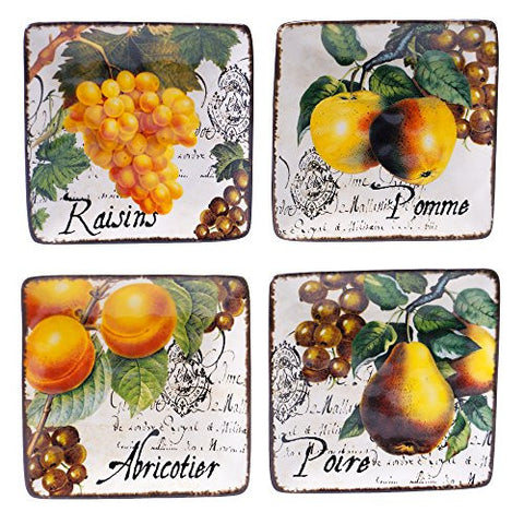 Certified International Botanical Fruit Canape Plate, 6-Inch, Multicolor, Set of 4