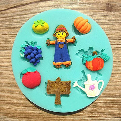 Silicone Halloween Pumpkin Scarecrow Grapes Cake Mold