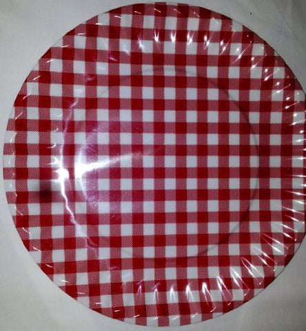 Set of Four Reuseable 8 Inch Melamine Salad Plate in Red Gingham Pattern