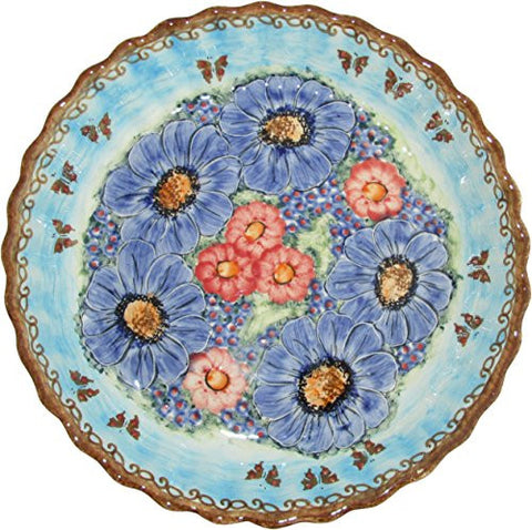 "Boleslawiec Stoneware - Polish Pottery Pie Plate or Quiche Baker - Eva's Collection ""Blue Sky Meadow"""