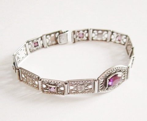 Sterling Silver Art Deco Antique Filigree Bracelet with Purple Glass Stones - Scarab Trinkets