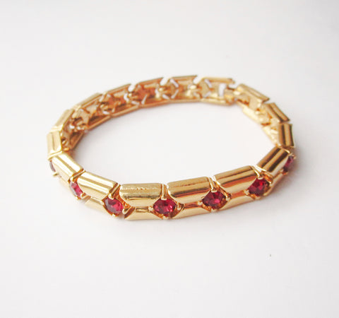 D'orlan Vintage Gold Tone Bracelet with Red Rhinestones