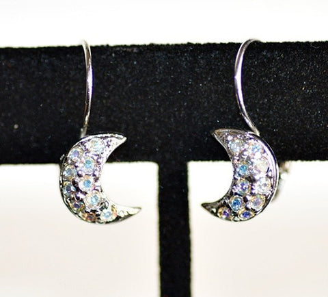 Kirk's Folly Silvertone Crescent Moon Rhinestone Lever Back Earrings
