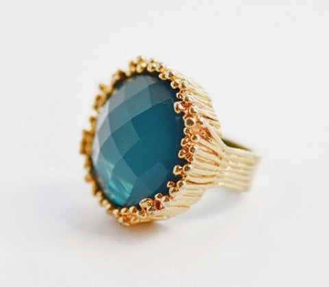 Vintage Cocktail Ring Brutalist Style with Teal Green Glass Stone
