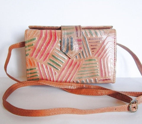 Leather Vintage Hand Tooled Crossbody Box Purse