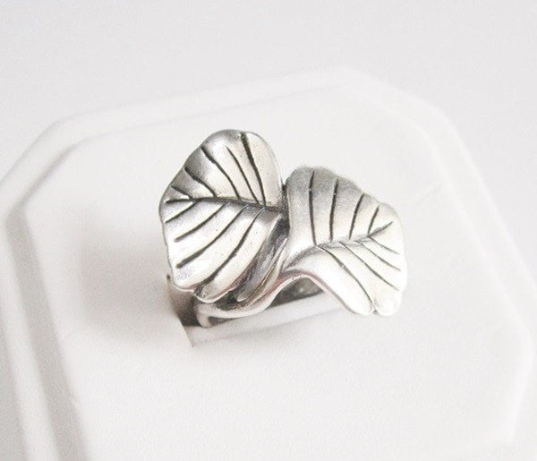 Sterling Silver Modernist Vintage Leaf Ring