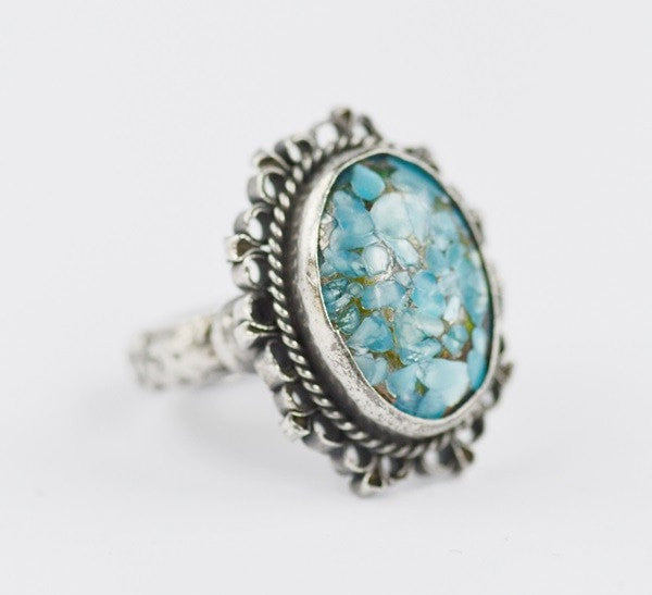 Vintage Sterling Ring with Mosaic Faux Turquoise Stone