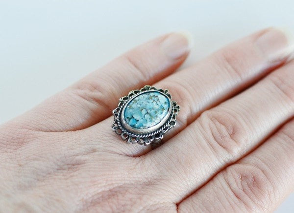 Vintage Sterling Ring with Mosaic Faux Turquoise Stone - Scarab Trinkets