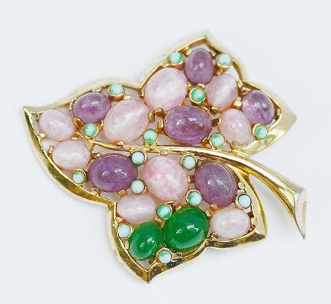 Marcel Boucher Vintage Leaf Brooch with Glass Cabachons