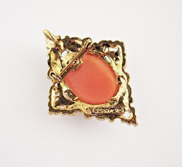 Vintage Signed Gerry's Filigree Cameo Brooch & Pendant