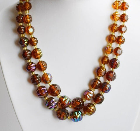 Two Strand Vintage Iridescent Amber Colored Necklace Signed W. Germany