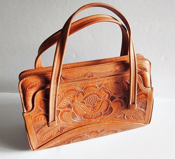 Vintage Leather Handtooled Roses Purse