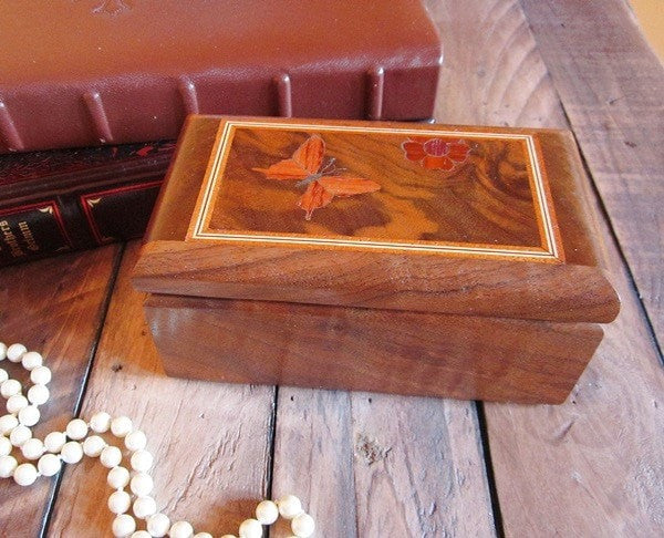 Marquetry Walnut Butterfly Jewelry Trinket Box