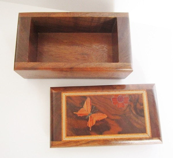 Handmade Marquetry Walnut Butterfly Jewelry/Trinket Box with Rosewood, Purpleheart and Padauk - Scarab Trinkets