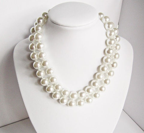 White Faux Pearl Necklace with Ornate Jewel Encrusted Hook & Eye Clasp