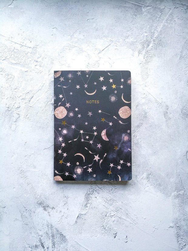 Thicker pages A5 Constellations notebook with gold foil stars
