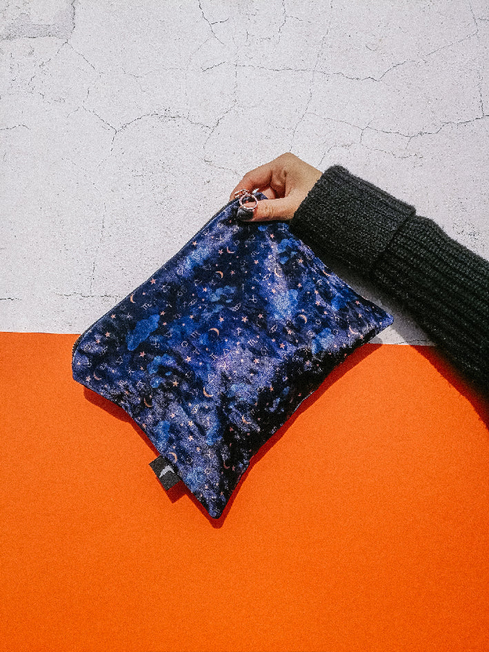 Blue zodiac dreams velvet rectangle bag