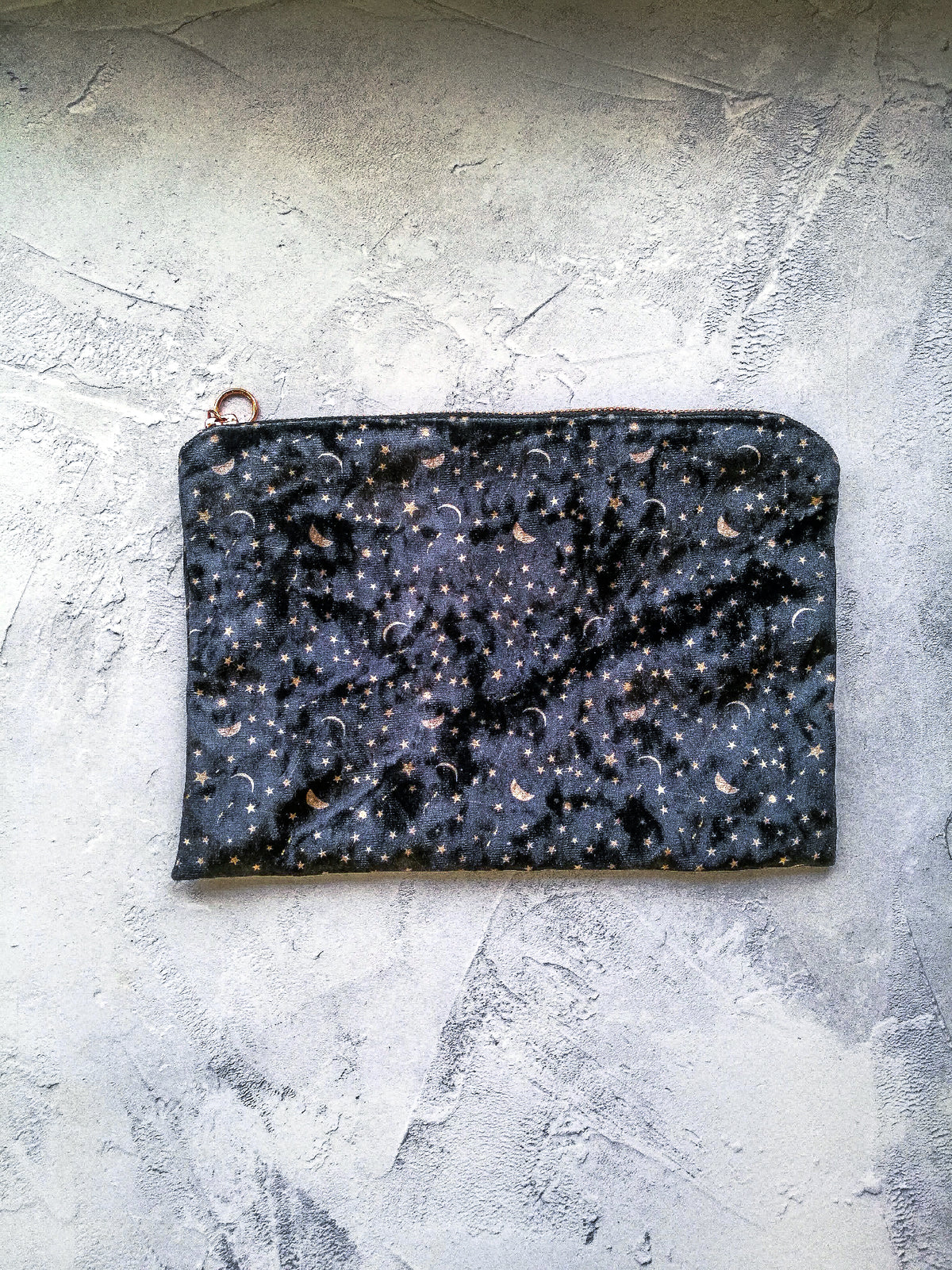 Black constellations radiant velvet  bag