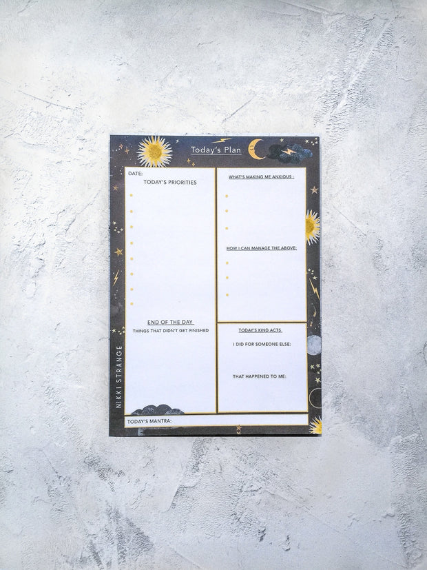 A5 Stars & moon Today's plan' Notepad