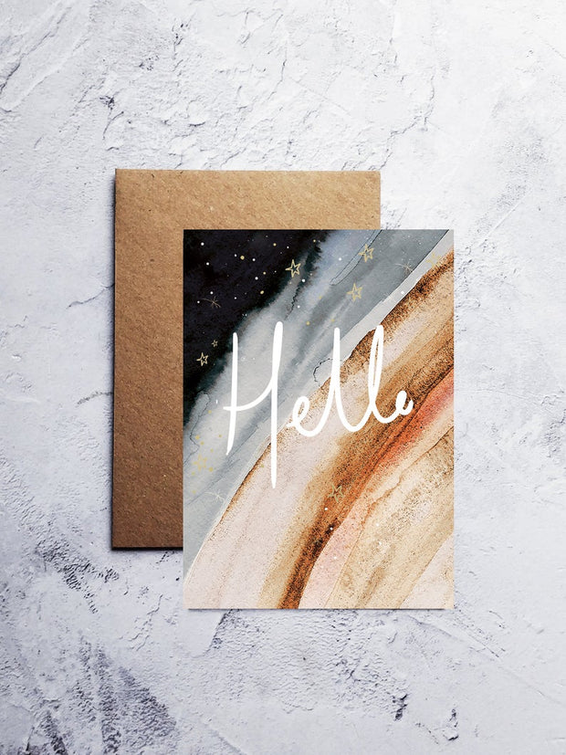 A6 Golden hello greeting card