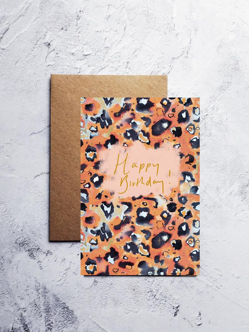 A6 Leopard print happy birthday greeting card