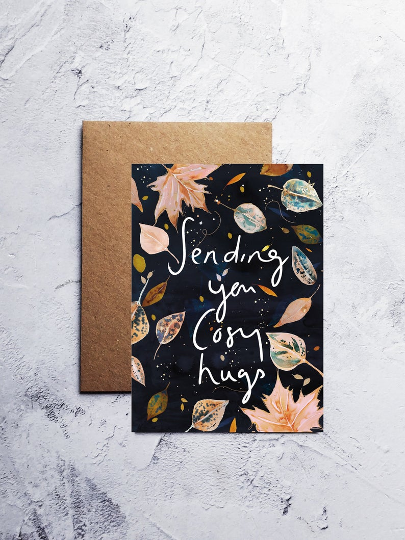 A6 Cosy Autumnal hugs greeting card