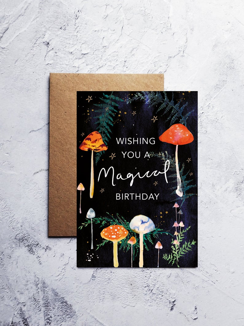 A6 Magical birthday mushrooms greeting card