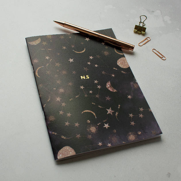 Personalised Gold foil Name initials A5 constellation notebook