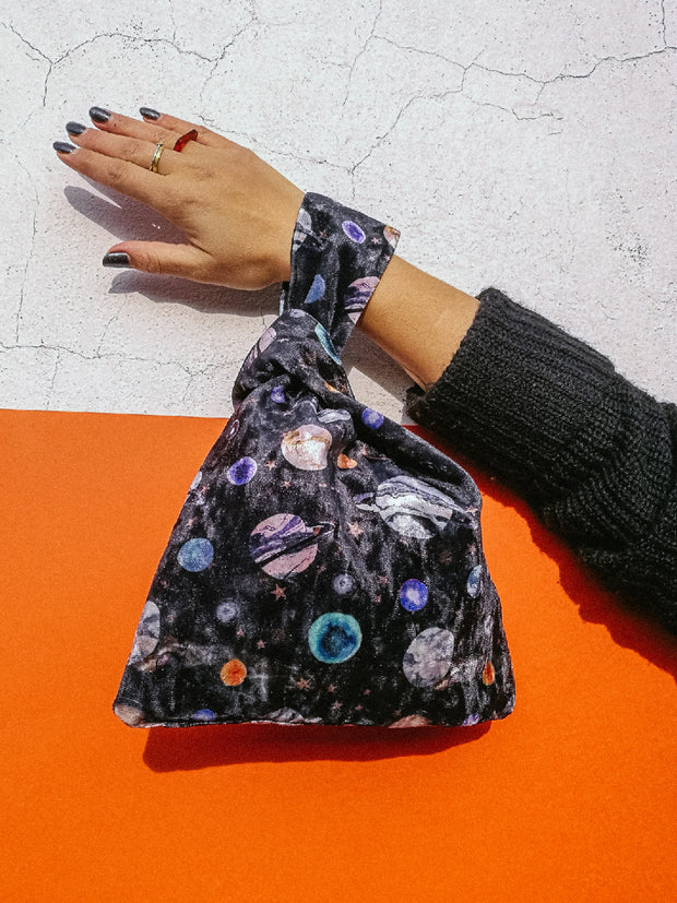 Marble galaxy velvet knot bag