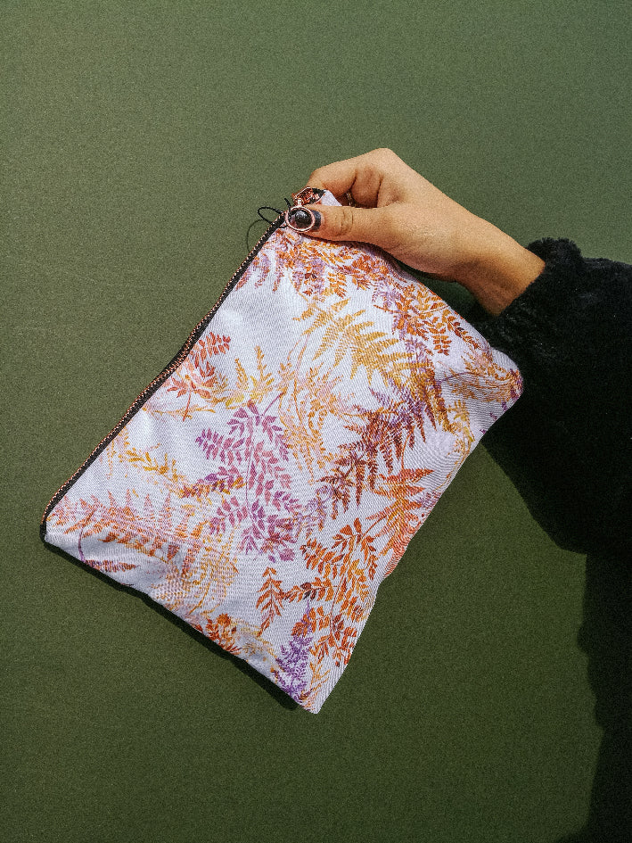 Snowflake ferns waterproof travel cosmetic bag