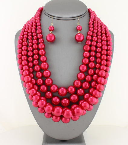 Multi-Strand Layered Red Pearl Necklace Set - Agatha & Helen