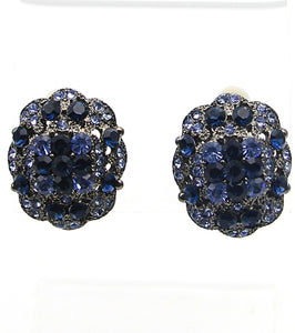 Victorian Crystal Clip-on Blue Earrings - Agatha & Helen