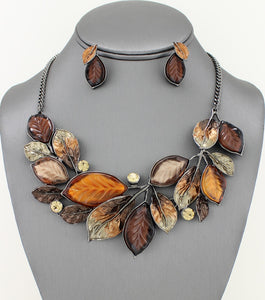 Enamel and Resin Brown Candy Leaves Collar Necklace Set - Agatha & Helen
