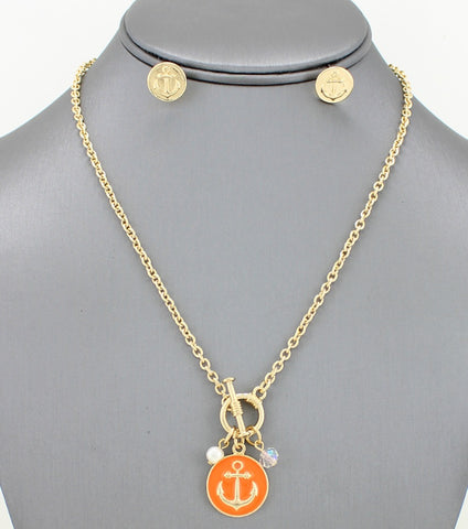 Anchor Pendant Toggle Necklace Set - Agatha & Helen