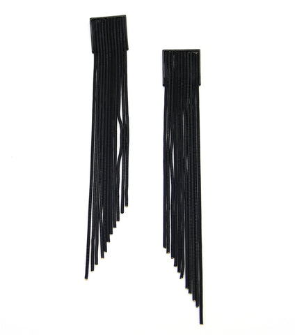 Black Long Metal Fringe Drop Earrings - Agatha & Helen