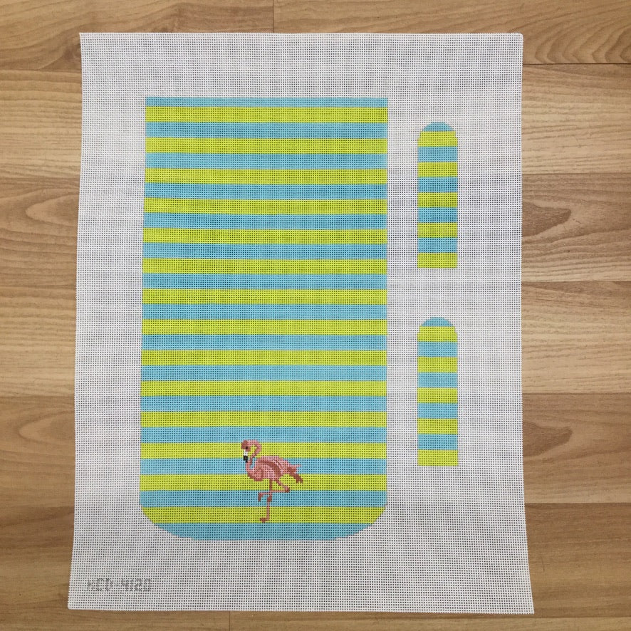 Flamingo on Stripes Purse Canvas