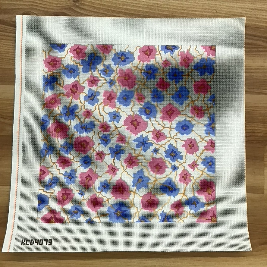 Pink and Blue Floral Pillow
