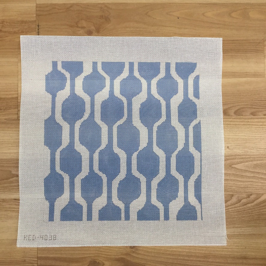 Blue and White Geometric Pillow