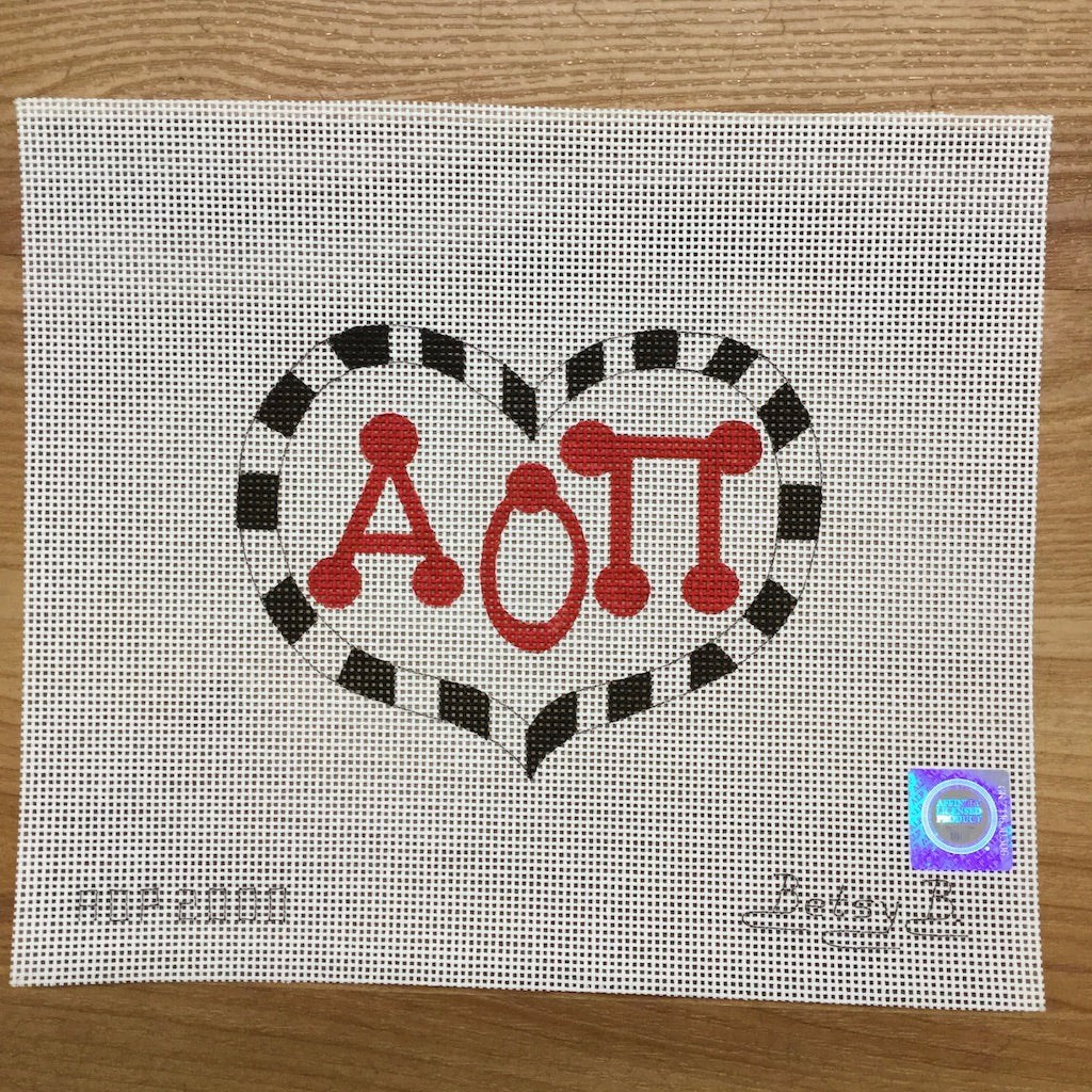 Alpha Omicron Pi Heart with Letters