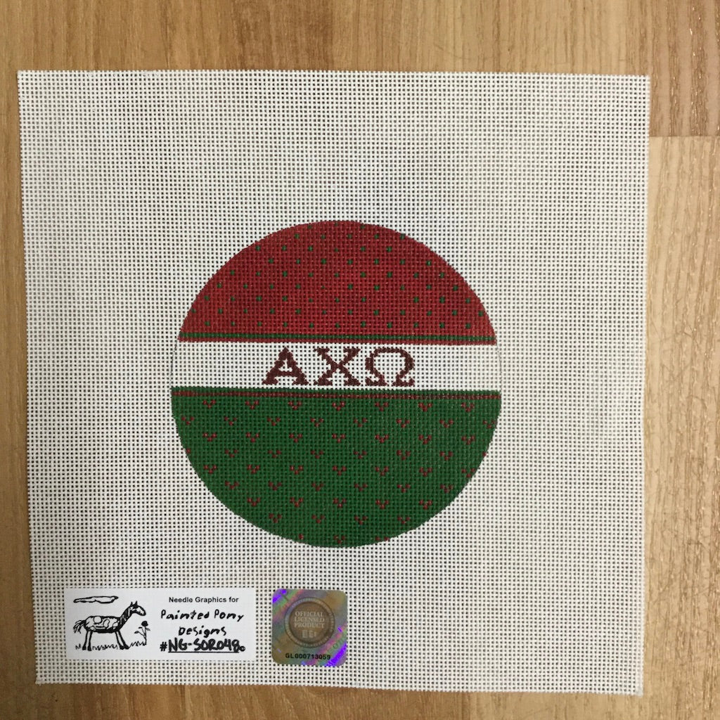 Alpha Chi Omega Striped Round