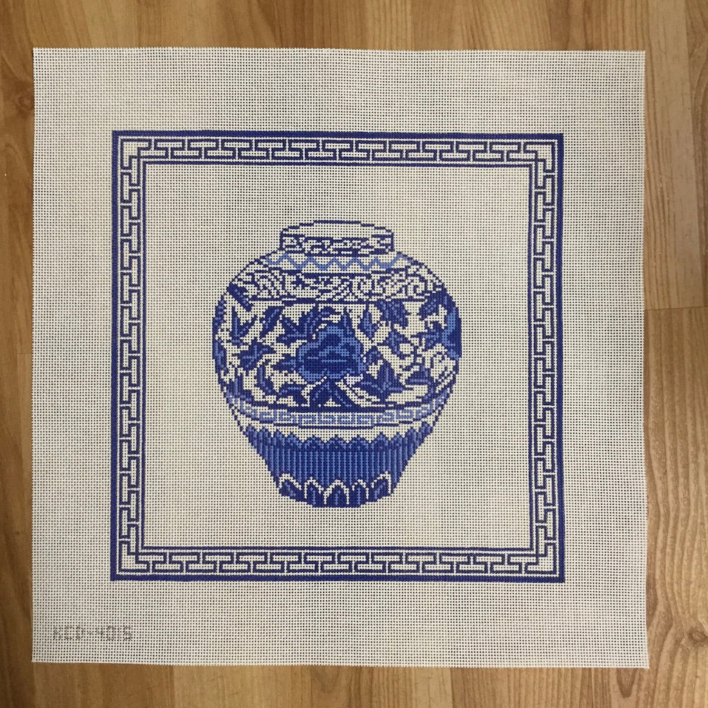 Blue Urn with Border