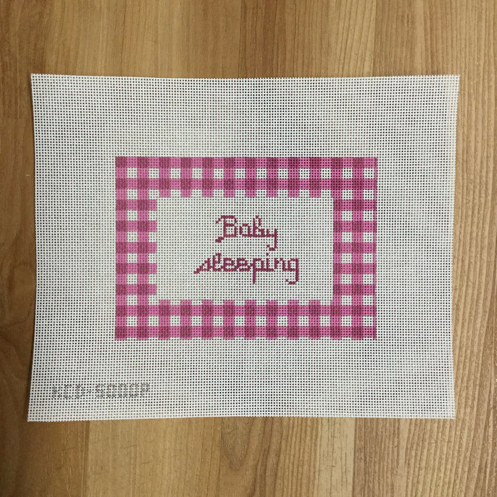 Gingham Baby Sleeping Sign