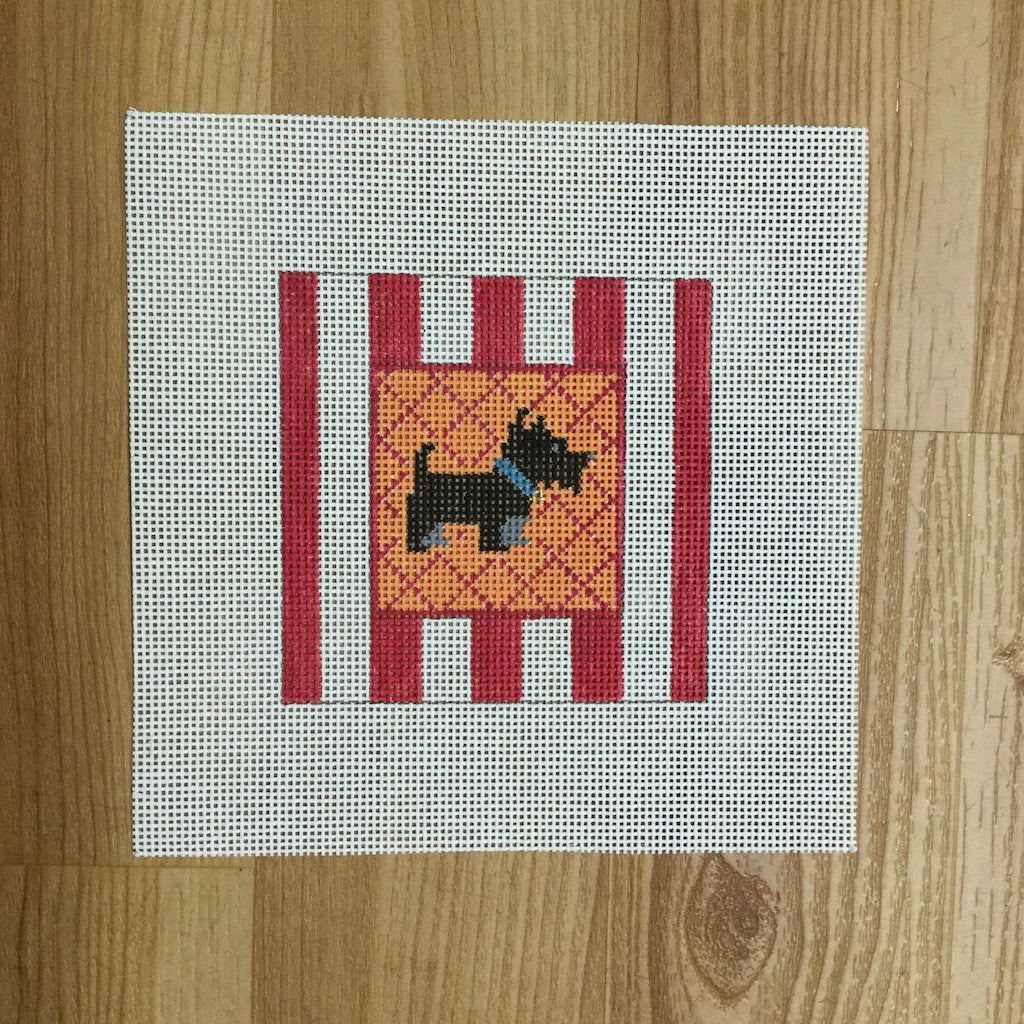Black Scottie Striped Square