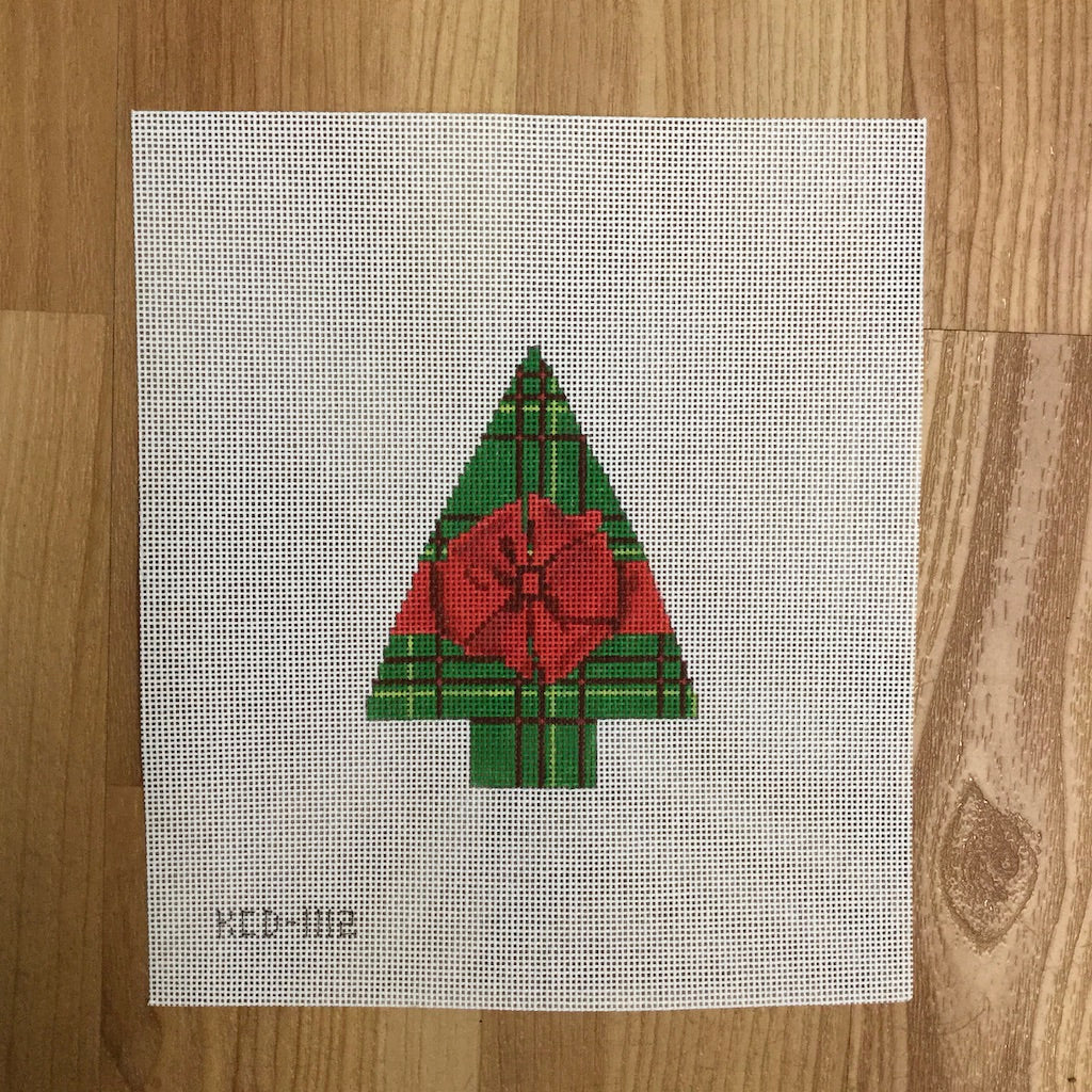 Green Plaid with a Red Bow Tree