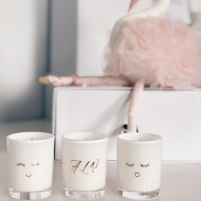 Parcelle Baby PowderParcelle - Scented Trio Set Candles with Custom Initials & Playful Characters
