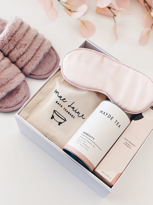 Parcelle - Relax & Recharge Personalised Gift box - Fluffy Pink or Grey Slippers, Mae Laine Bath Teabags, Mayde Tea Serenity, Ena All Natural Hand Treatment, pink silk eyemask