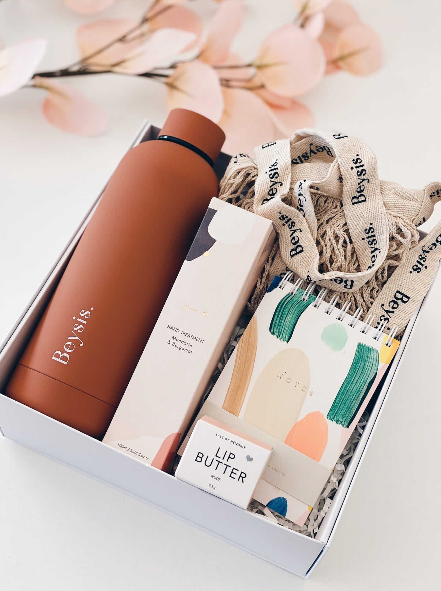 Parcelle - Just Add Water Personalised Gift Box - Beysis Terracotta Water Bottle, Beysis Cotton tote, Moglea Mini Notebook, Salt By Hendrix Lip Butter, Ena All Natural Hand Cream