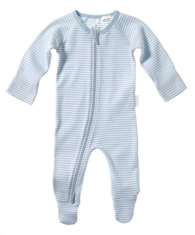 Purebaby Pale Blue Stripe Zip Growsuit