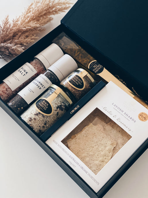 The Pantry/ Parcelle Home Collection / Real Estate Settlement Gift, New Home Feel, Client Gift, Welcome Home gift, foodie Gift, Sydney real estate Gift, Tasteology Salt and Pepper mills, Golden Truffle Oil, Ogilvie & Co Black truffle Risotto, dukkah, personalised giftbox