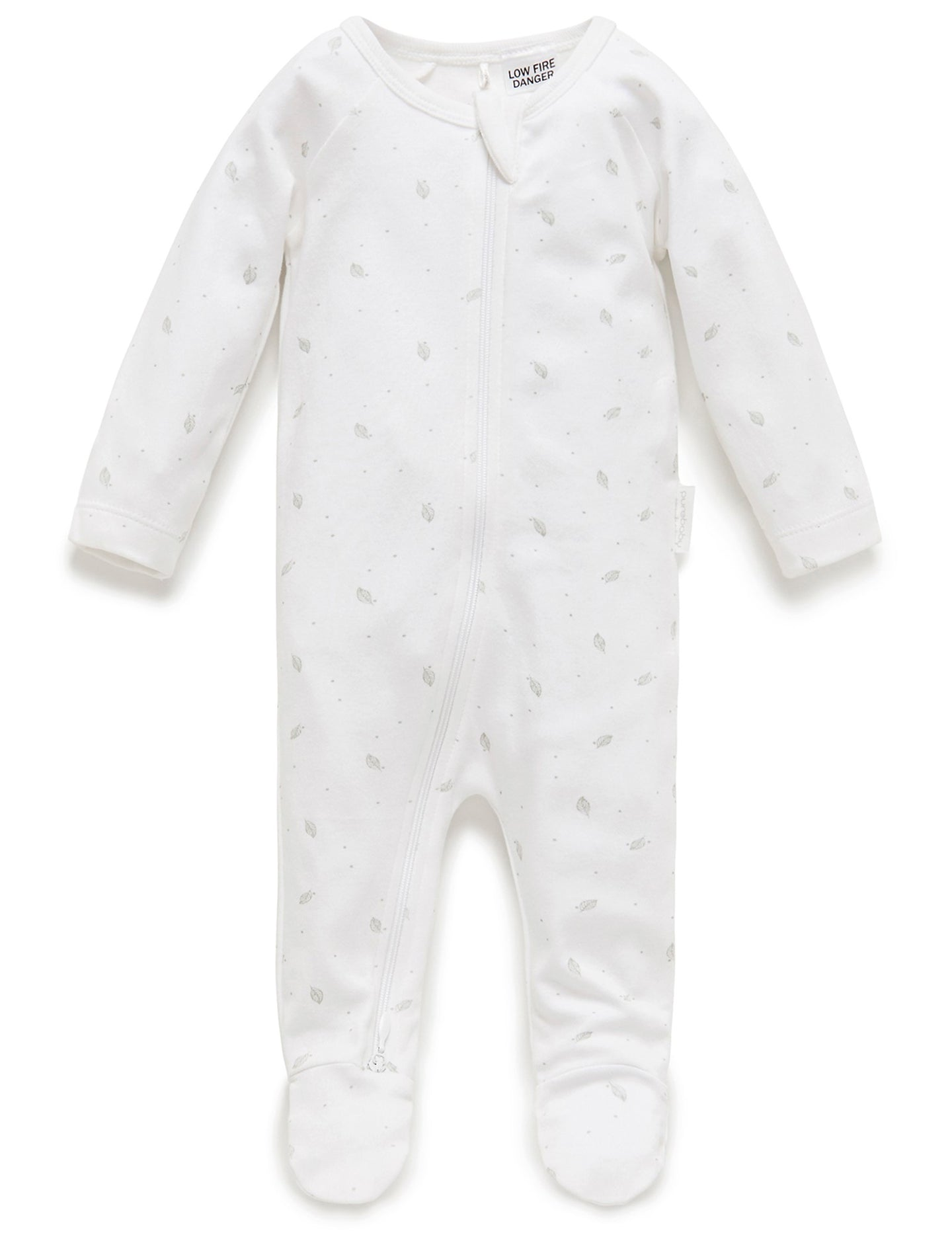 Purebaby Grey Leaf Zip Growsuit
